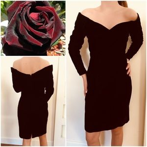 Vintage Black Cherry Colour Velvet Dress